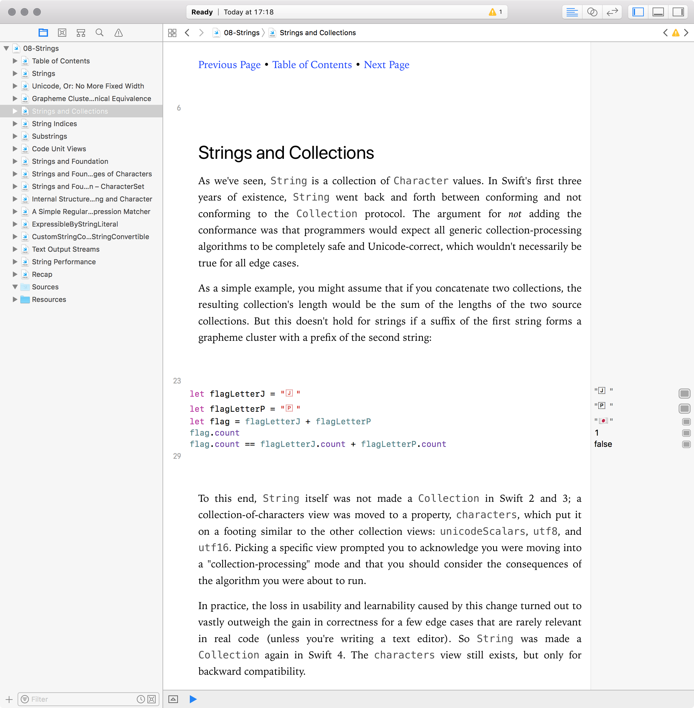 Screenshot of the Strings chapter of Advanced Swift in an Xcode 9.1 playground