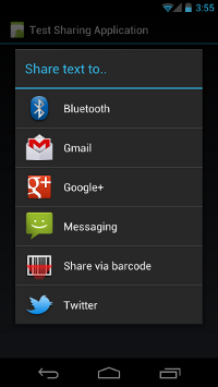 Android displaying a list of apps that can receive the content to be shared
