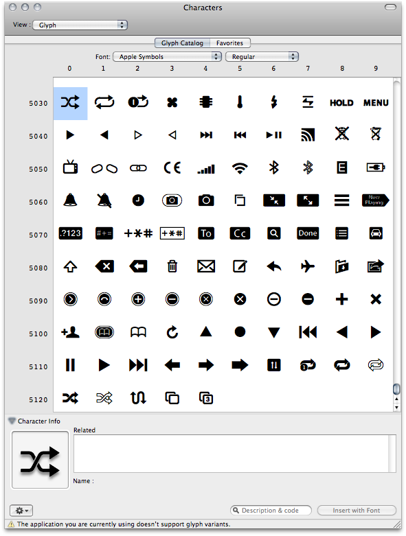 The Apple Symbols Font: A Great Repository for iPhone Button