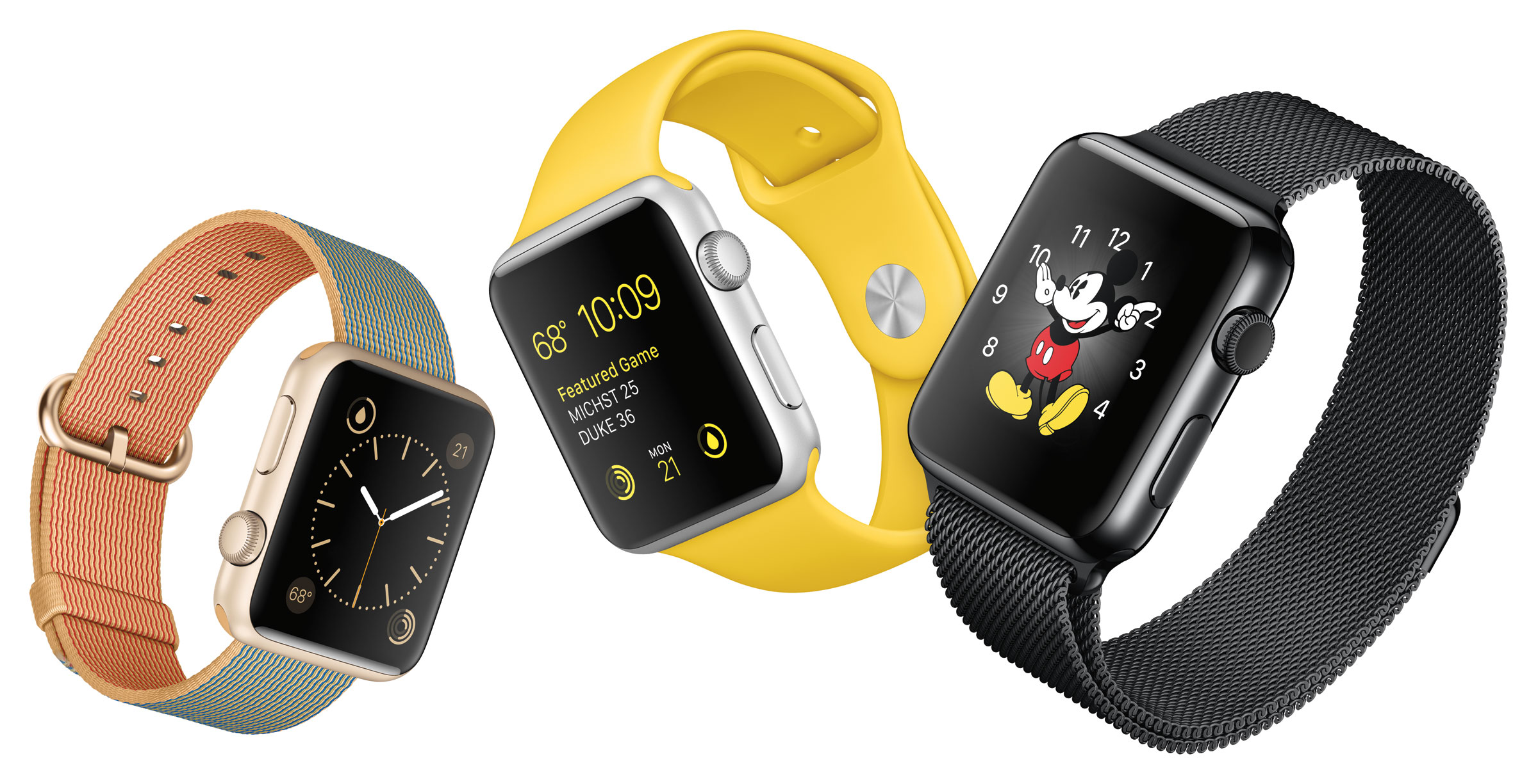 Press image of several Apple Watch models