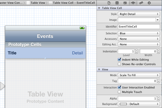 Configuring the settings of the prototype cell in Interface Builder.