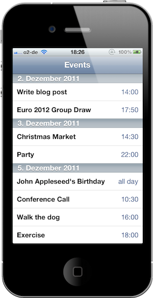Screenshot of the Appointment List sample application. The list of calendar events ids grouped by date.