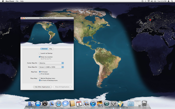 Screenshot of Blue Planet on Mac OS X