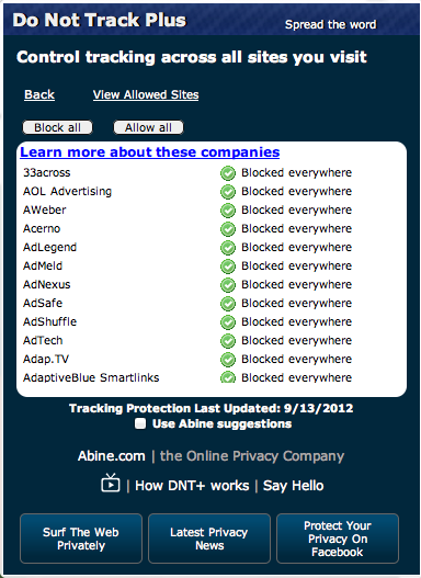 The settings screen of the Do Not Track Plus extension