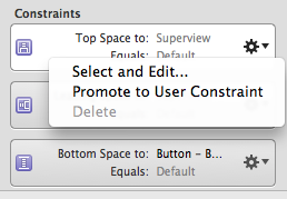 The Delete menu item for a layout constraint in Interface Builder is grayed out