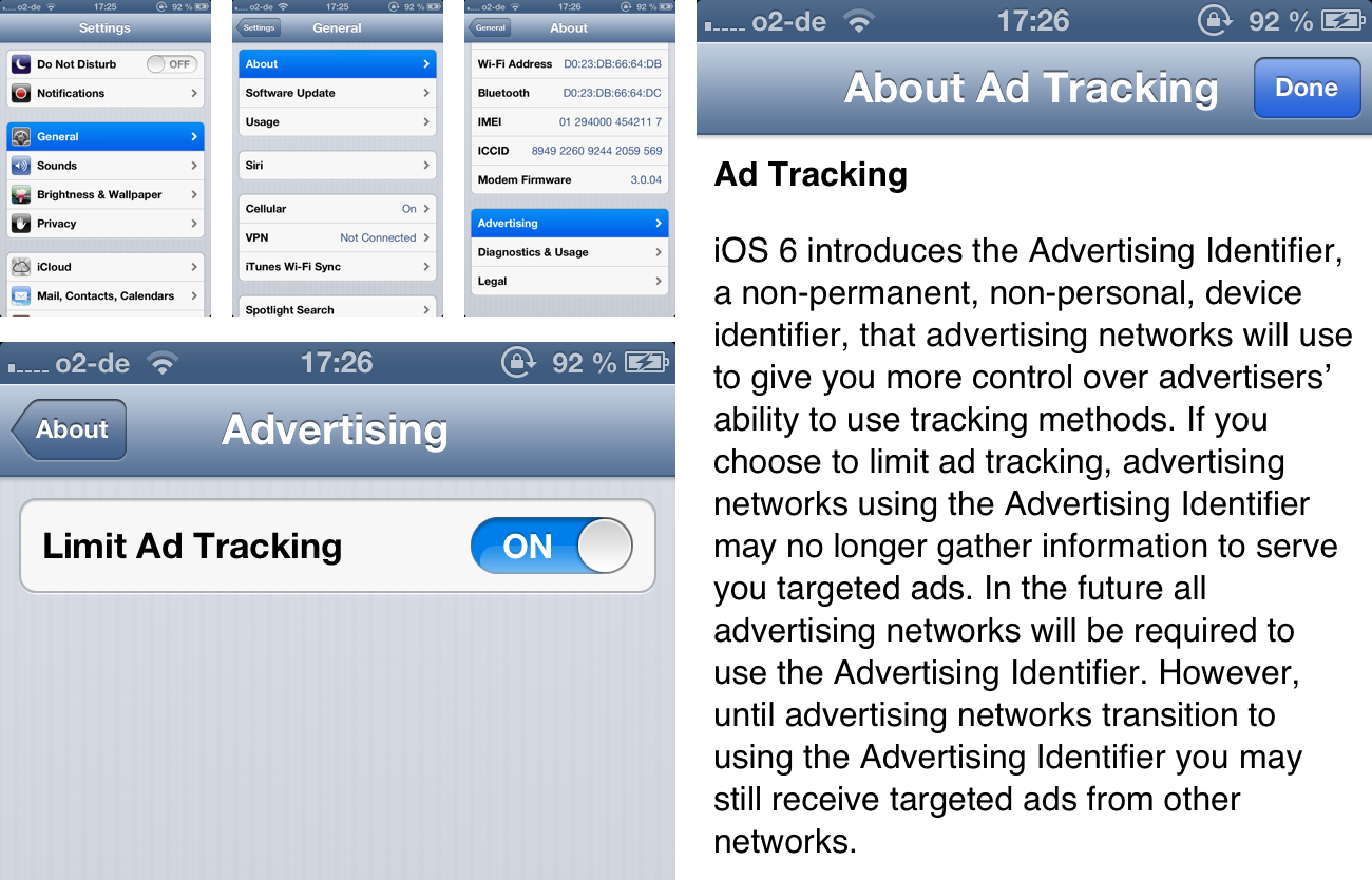 The Limit Ad Tracking option in iOS 6 Settings