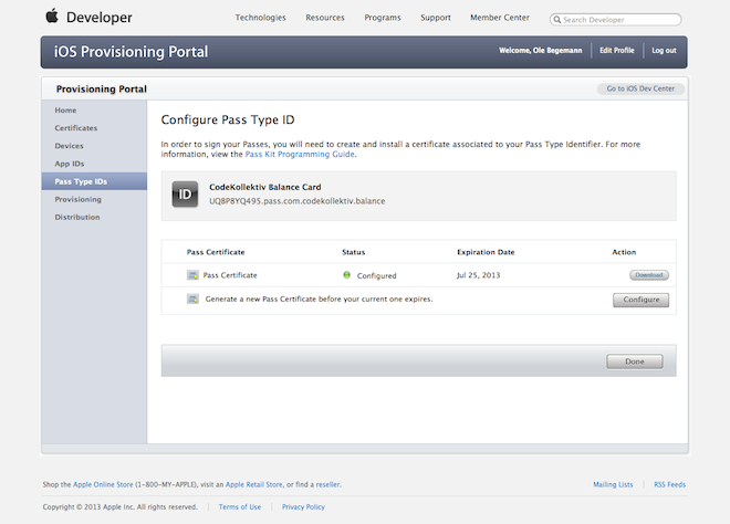 Configuring a Pass Type Identifier in the iOS Provisioning Portal