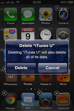 iOS 5.1.1 showing a warning about app deletion