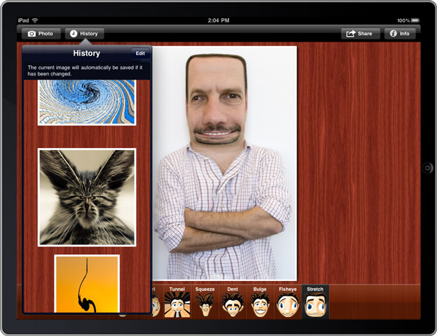 Picture Effects running on the iPad Simulator 3.2