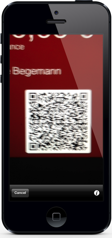 The Kaffeekasse app scanning a QR code from Passbook