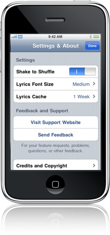An iPhone displaying the Songtext settings page