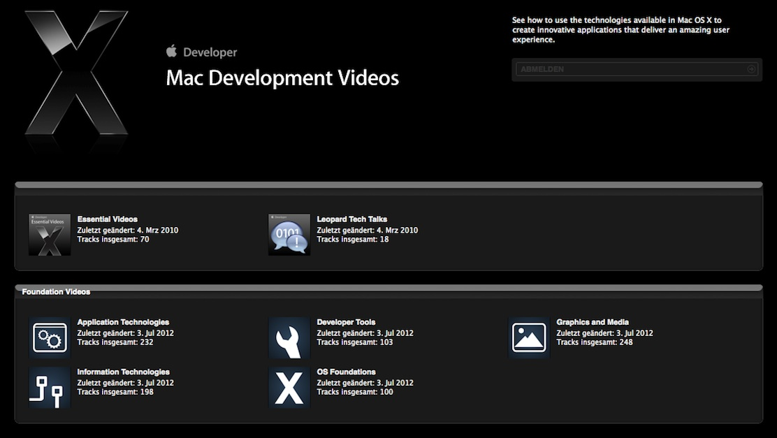 Mac Development Videos section in iTunes