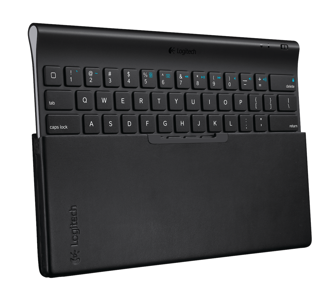 Logitech Tablet Keyboard coming out of its carrying case
