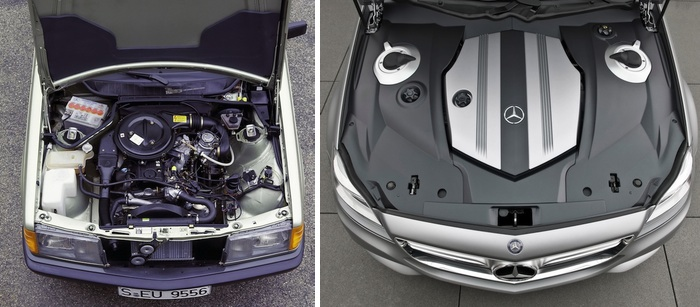"Comparison of the engine compartments of a 1982 Mercedes-Benz W-201 Series 190 and a 2010 Mercedes-Benz ""Shooting Break"" Concept Car"