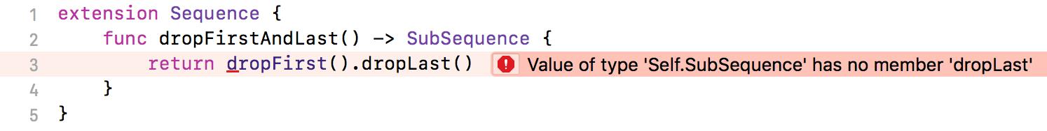 Screenshot of Xcode 9.2 (Swift 4.0) showing a compile error  - swift 4 0 extension error missing constraint - Swift 4.1 – Ole Begemann
