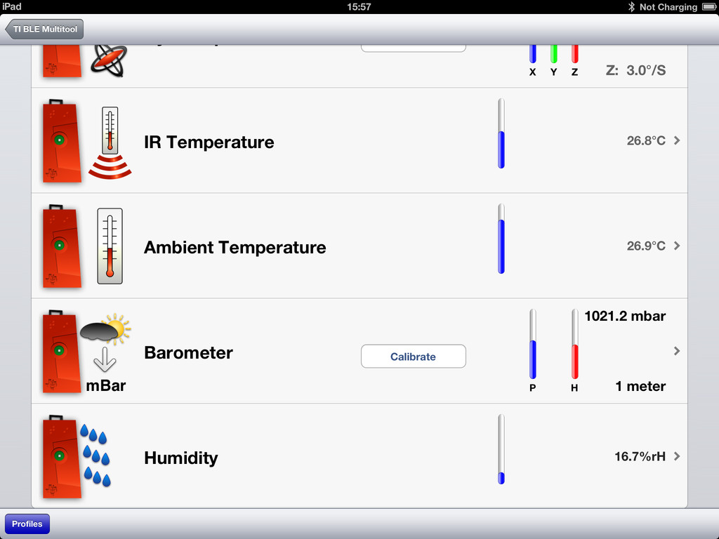 Screenshot of Texas Instruments's SensorTag iOS app