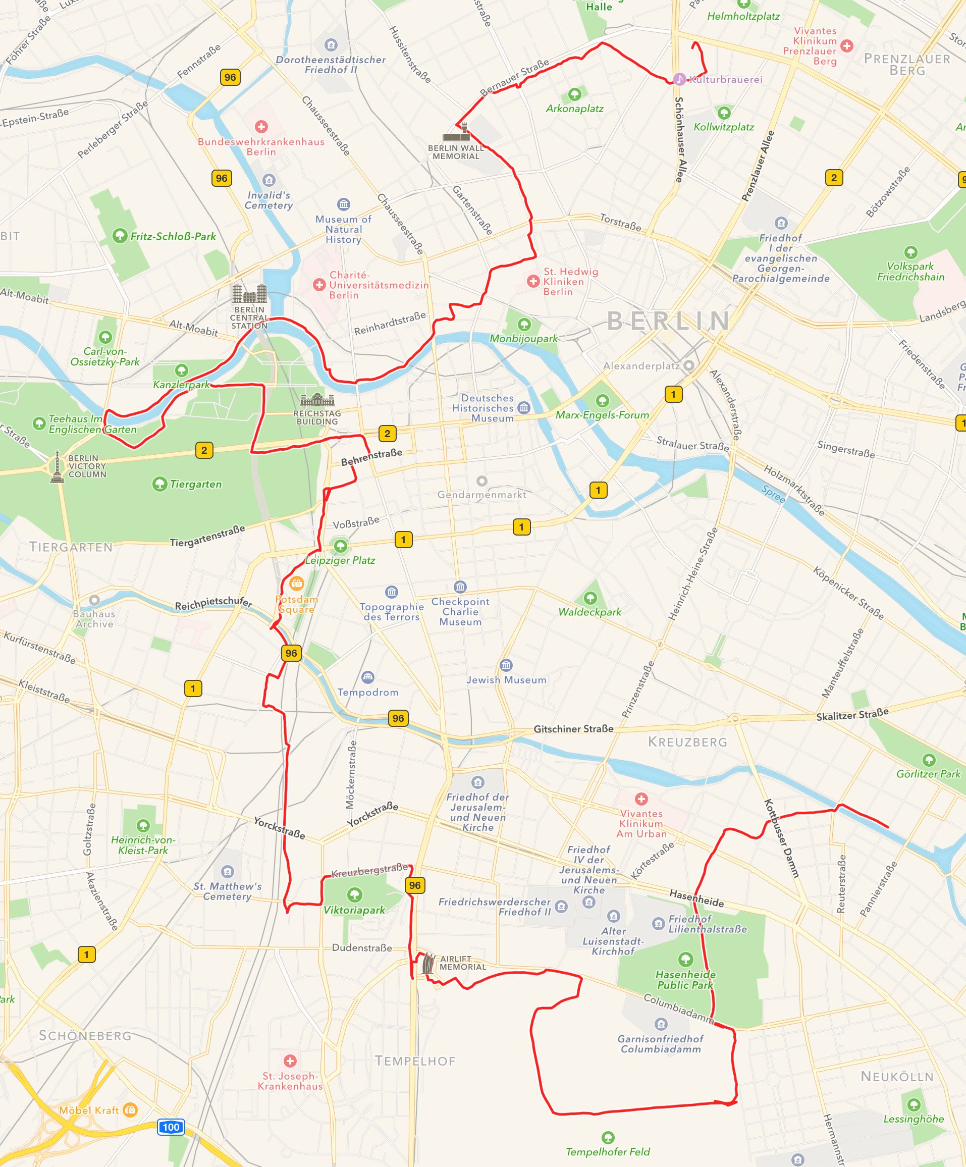 The route of the UIKonf Bike Tour 2016