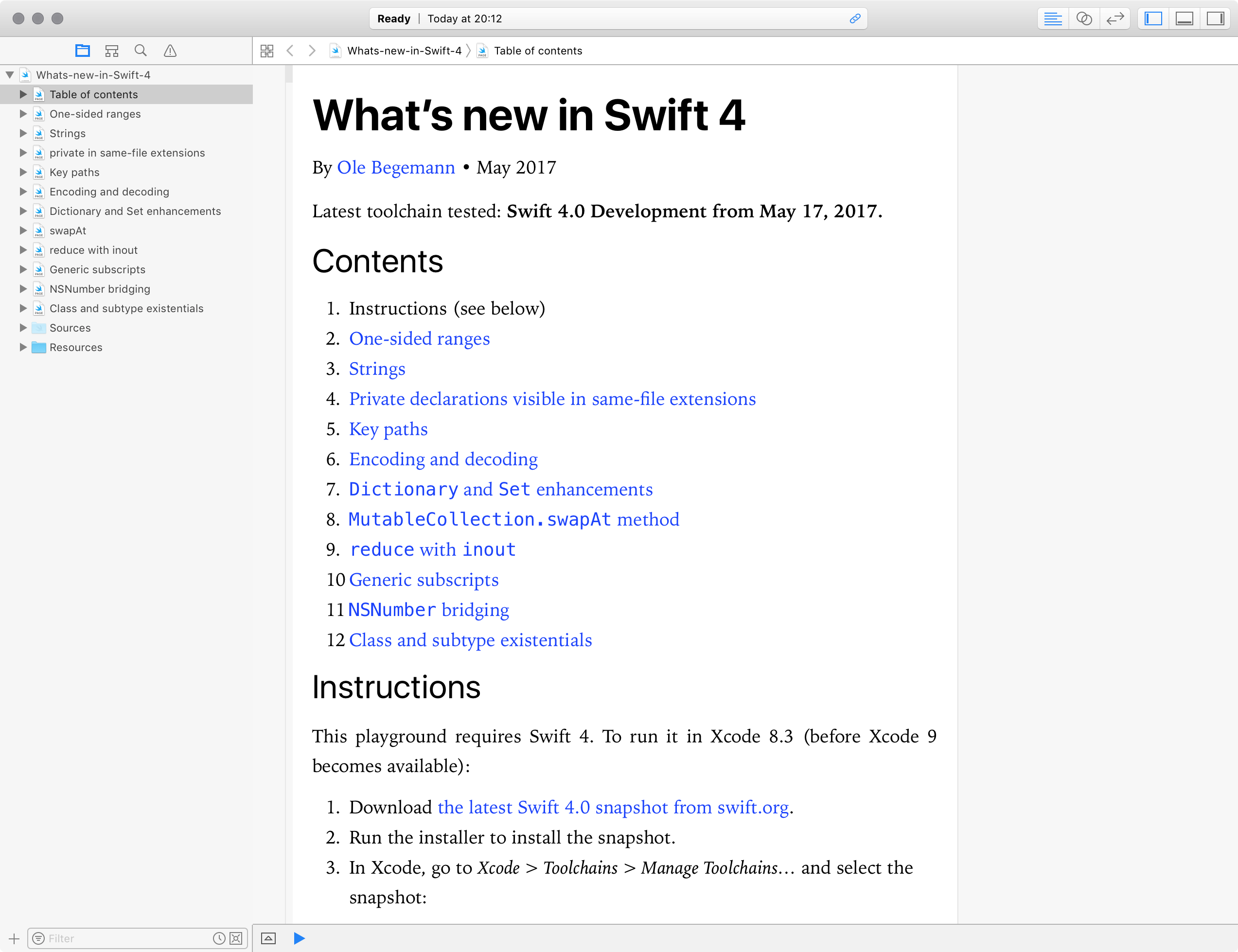 The What's new in Swift 4 playground