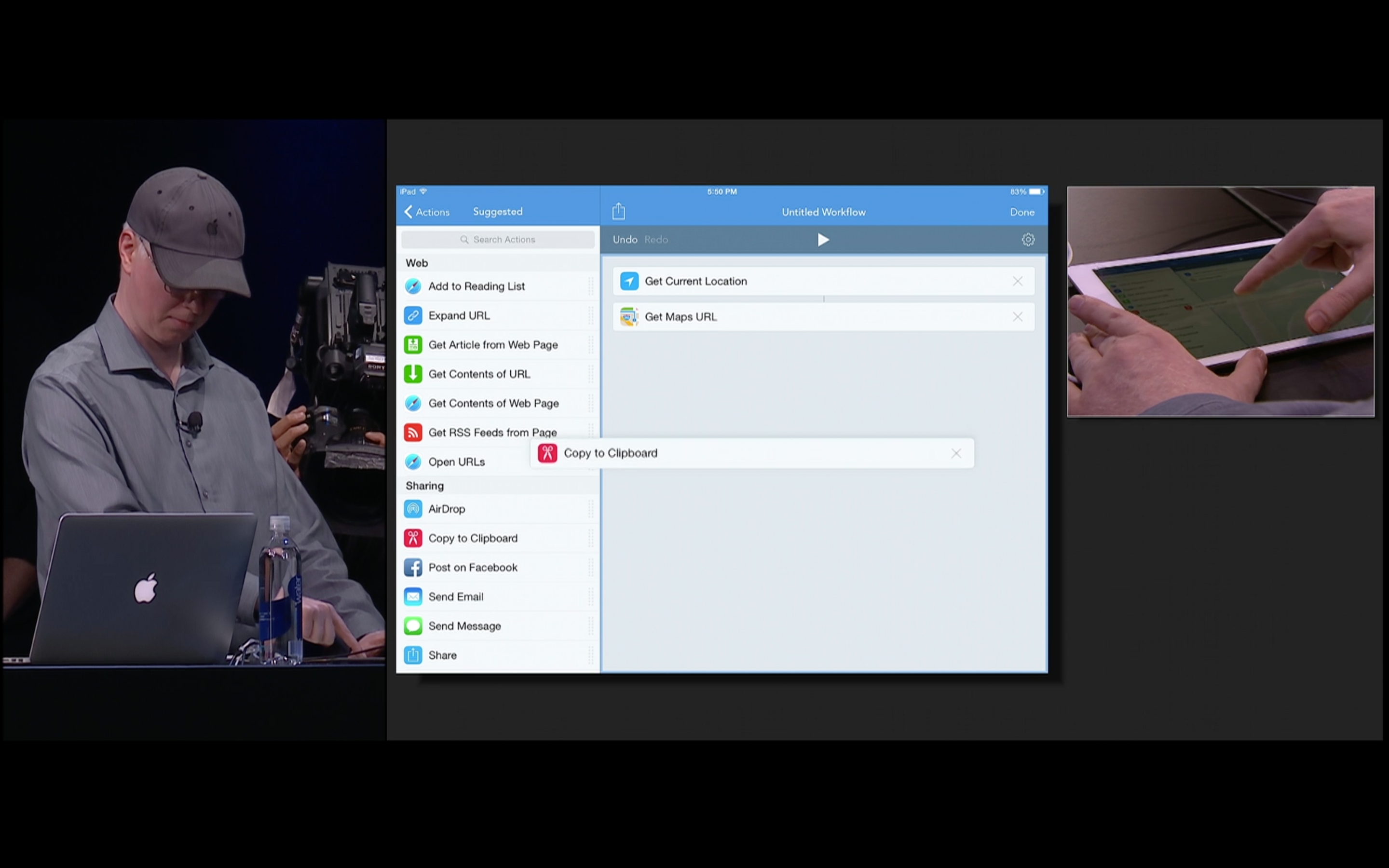 VoiceOver demo of the Workflow app at the Apple Design Awards 2015