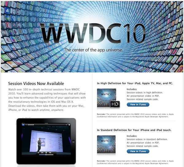 WWDC 2010 Videos available screenshot