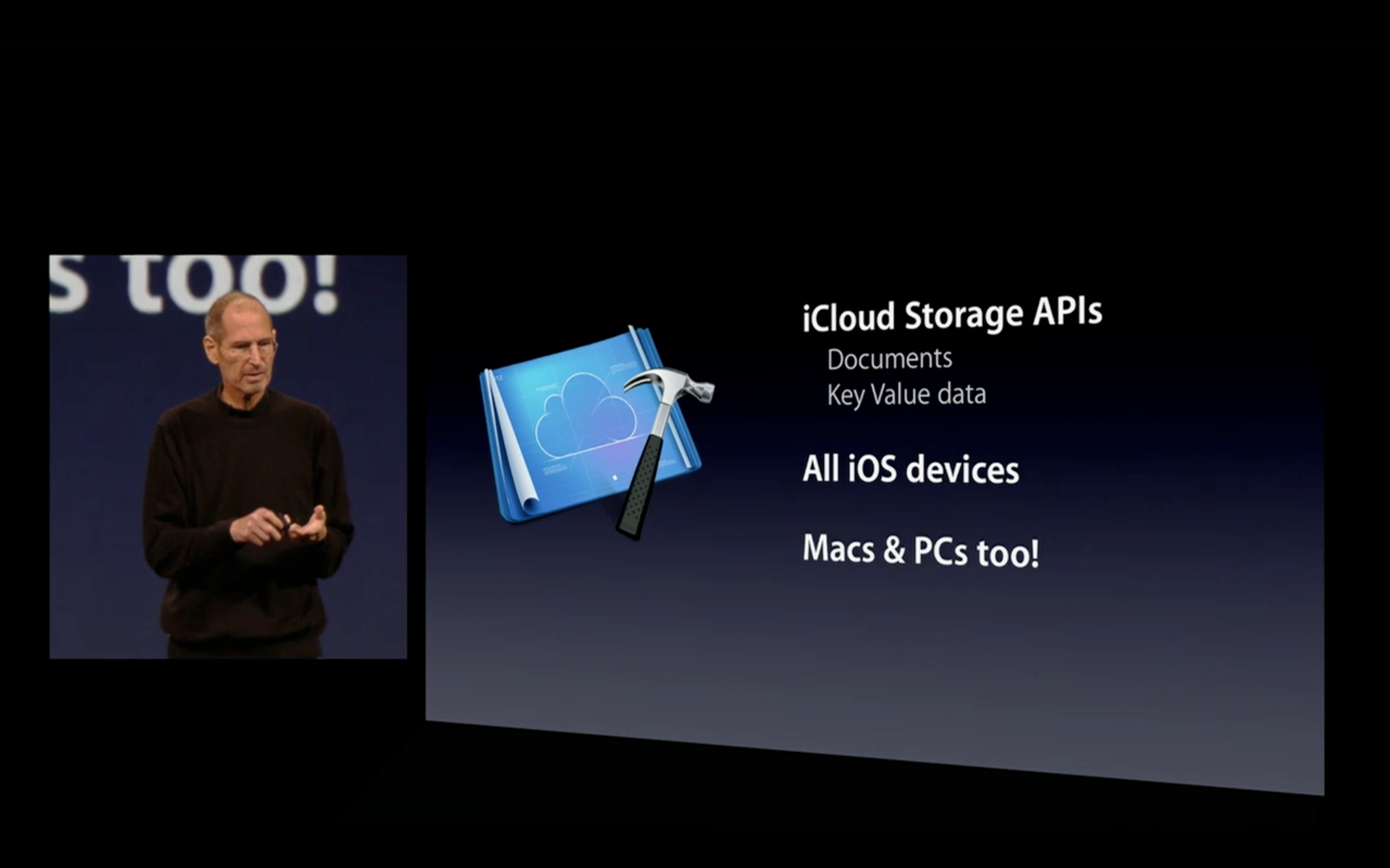 Steve Jobs introducing iCloud Storage APIs at WWDC 2011