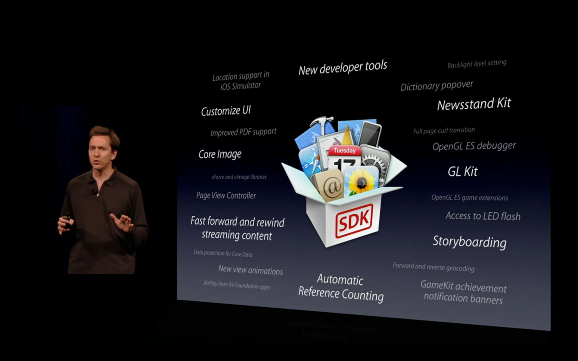 Scott Forstall introducing new developer features in iOS 5 at WWDC 2011
