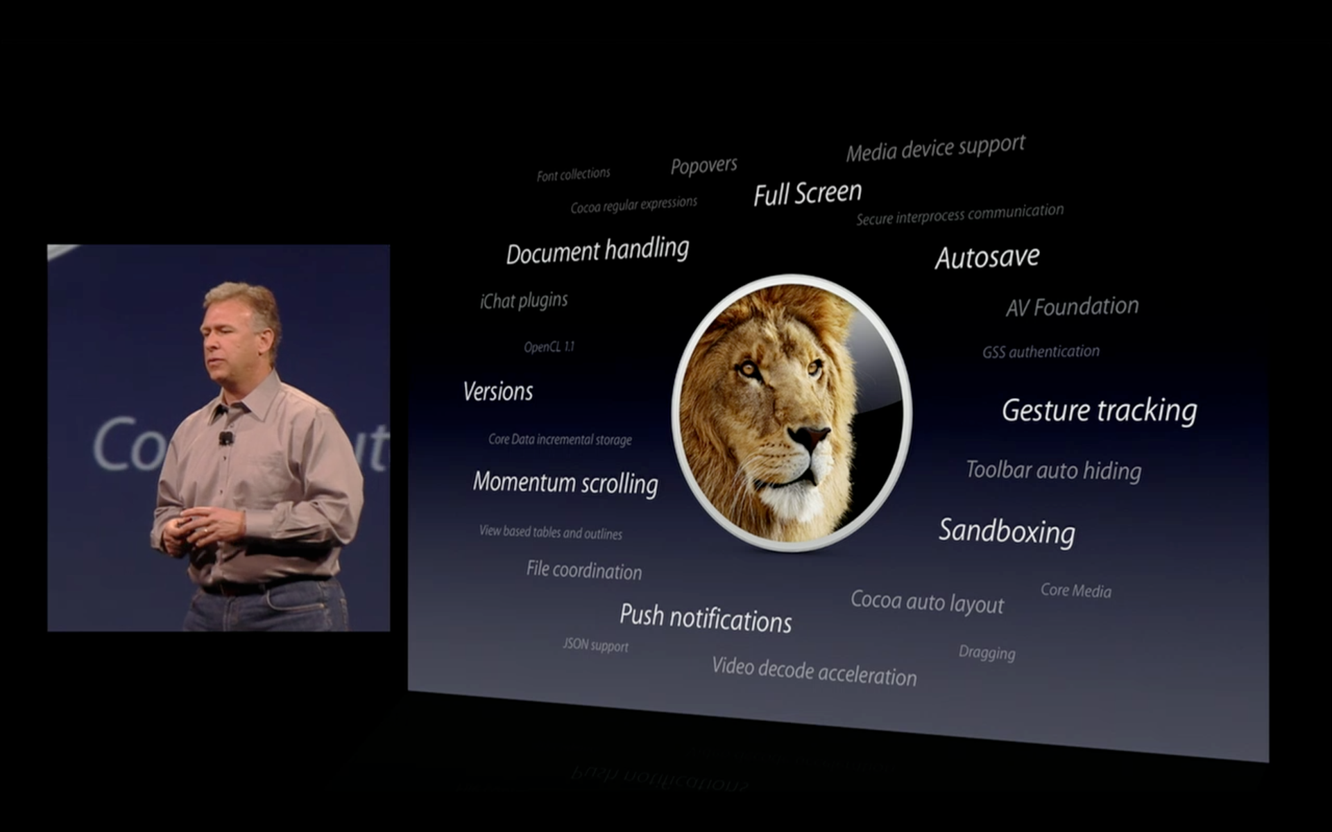 Phil Schiller introducing new developer features in Mac OS X Lion at WWDC 2011