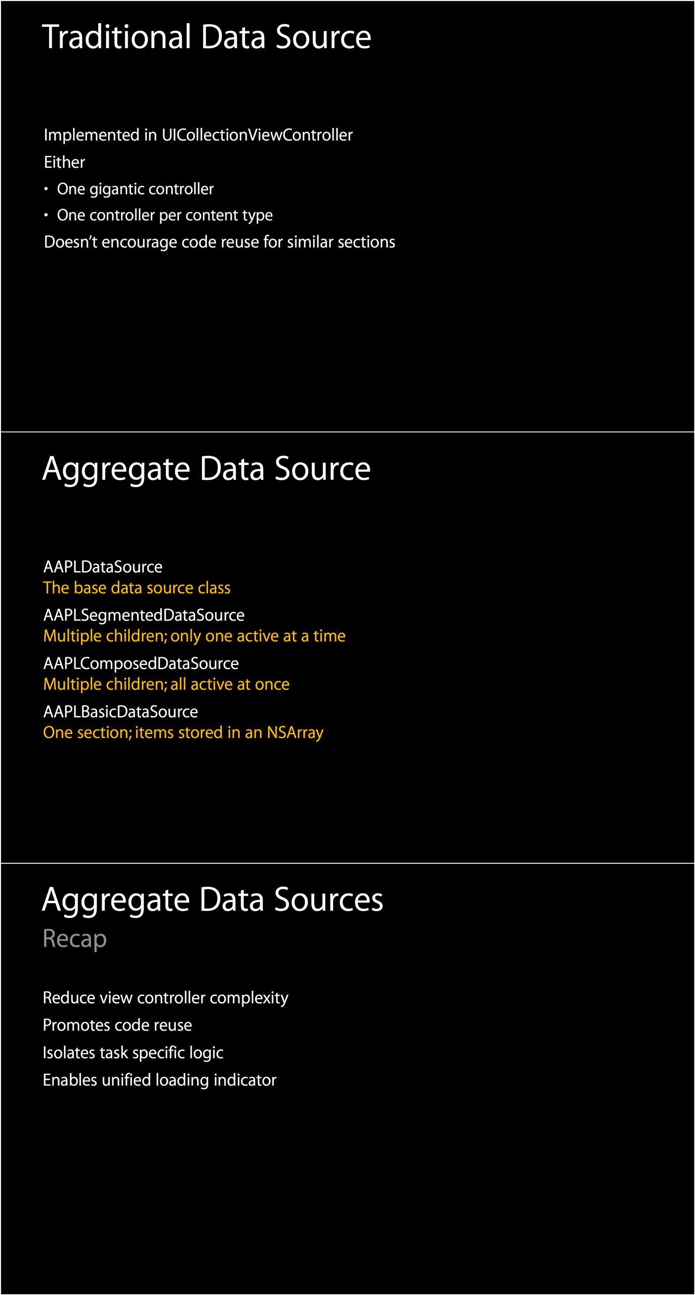 Slides from WWDC 2014 session 232 about aggregate data sources