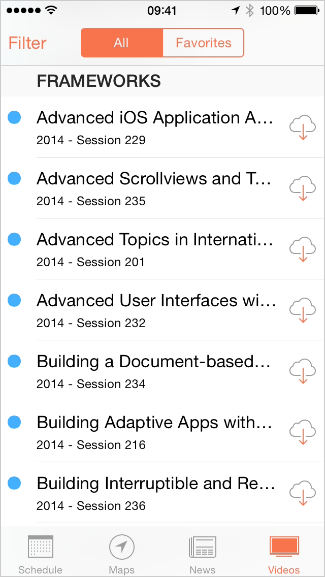 Apple's WWDC app displaying a list of truncated session titles