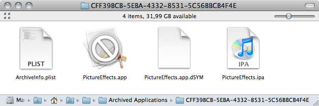 Xcode 3.2.2 Archived Applications folder