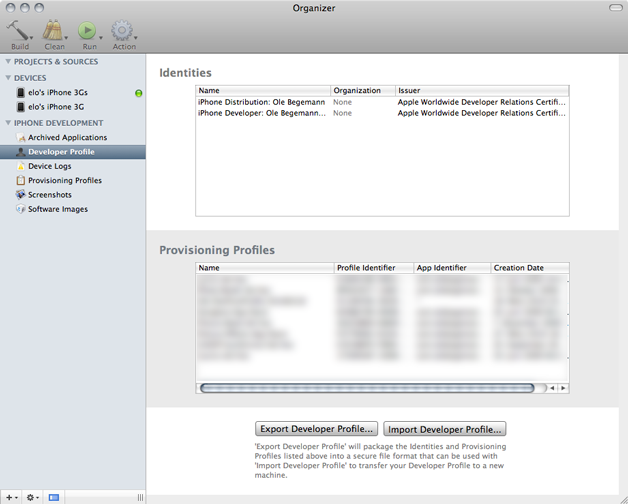 Developer Profile view in the Xcode 3.2.2 Organizer