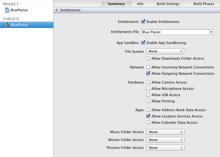 Application Sandboxing settings in Xcode 4.1