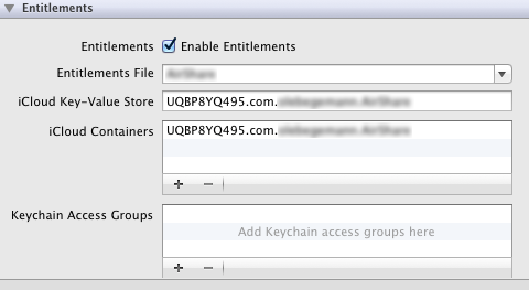 iCloud entitlements in Xcode 4.2