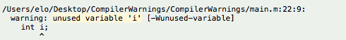 Xcode build log showing a compiler warning