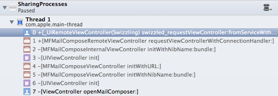 Xcode debugger showing call stack for MFMailComposeViewController