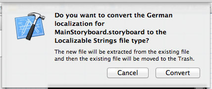 Confirmation alert in Xcode when converting a storyboard file to base localization