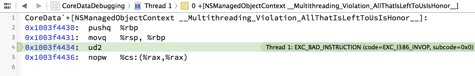 Xcode 6 displaying a Core Data multithreading violation exception