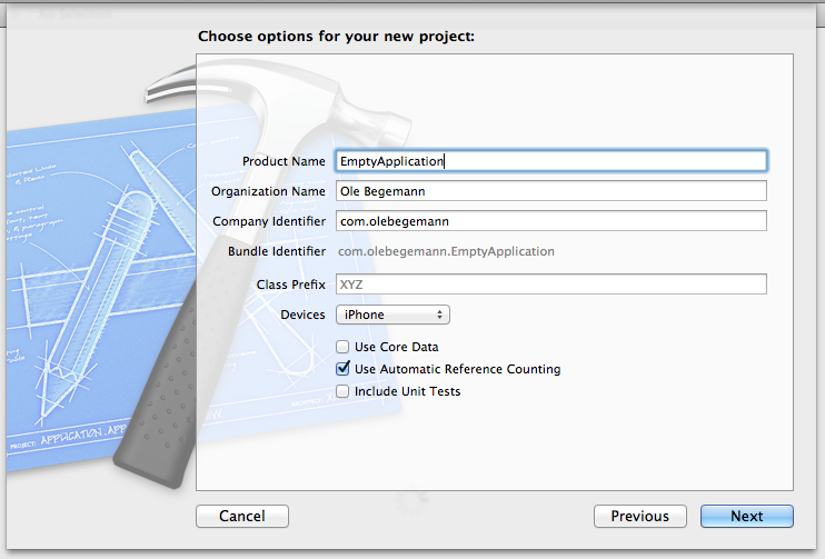 Options for an Empty Application iOS app project in Xcode