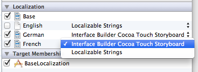 Converting a storyboard file to base localization in Xcode