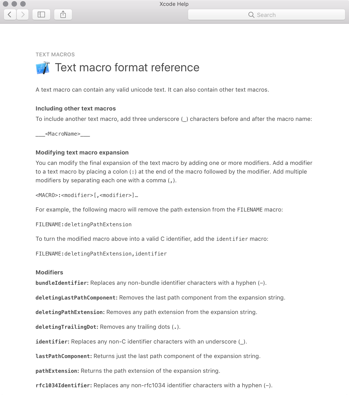The Text Macro Format Reference page in Xcode Help