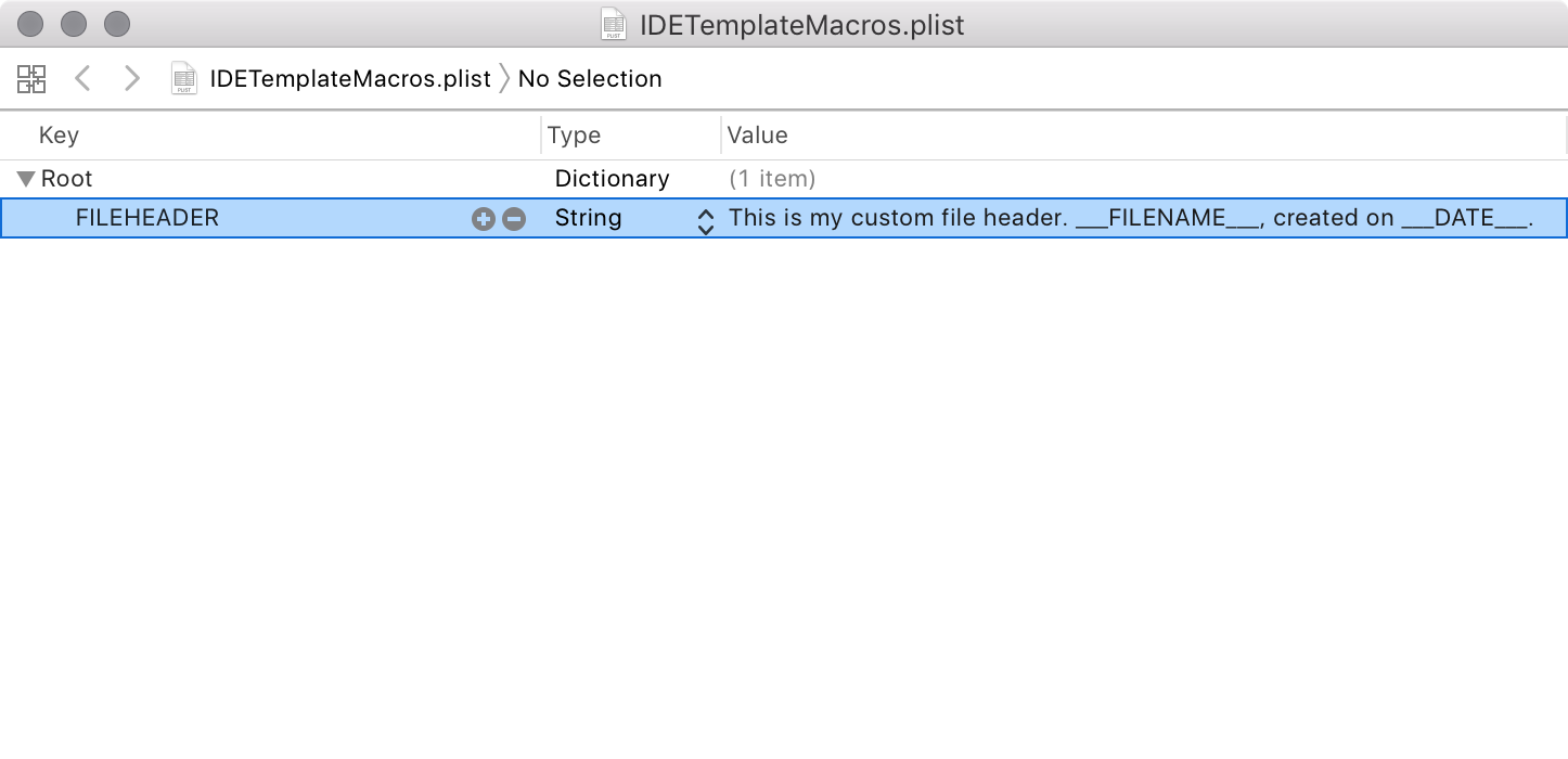 Editing the IDETemplateMacros.plist file in Xcode's property list editor