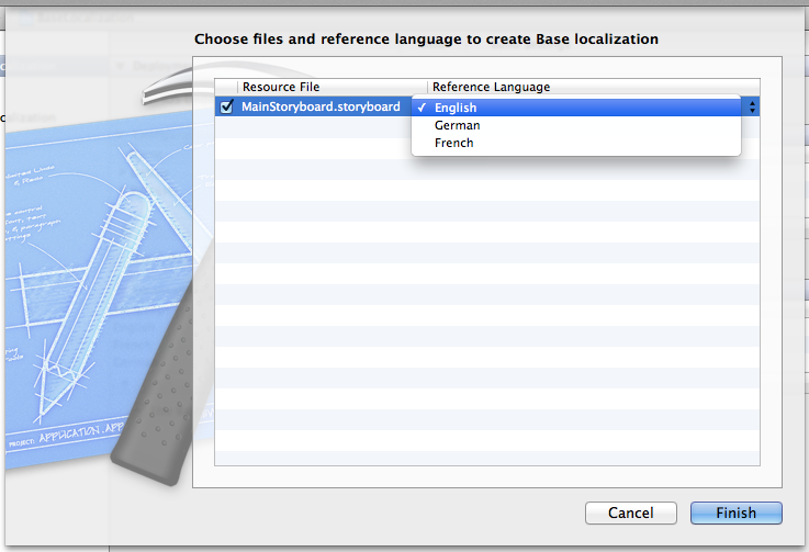 Selecting the source language to use for creating the base localization in Xcode