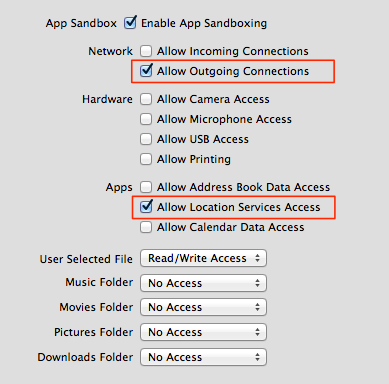 Screenshot of the Sandboxing Entitlements in Xcode with Allow Outgoing Connections and Allow Location Services Access activated