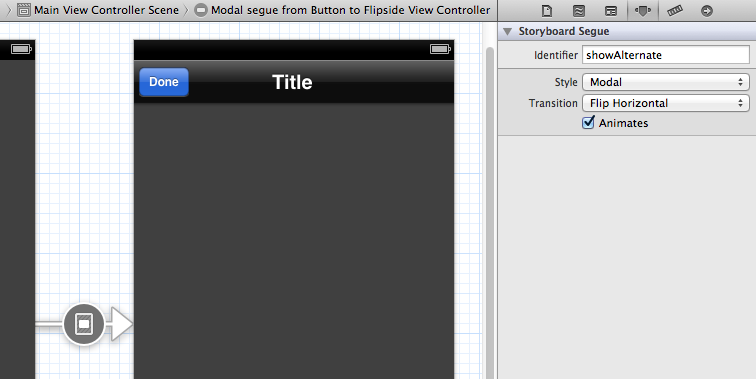 The modal segue to the FlipsideViewController in an Xcode Utility Application project template