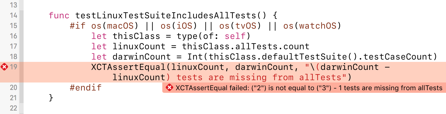 Xcode showing the failing test