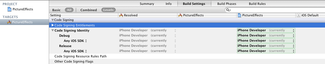 Code Signing Build Settings in Xcode 4