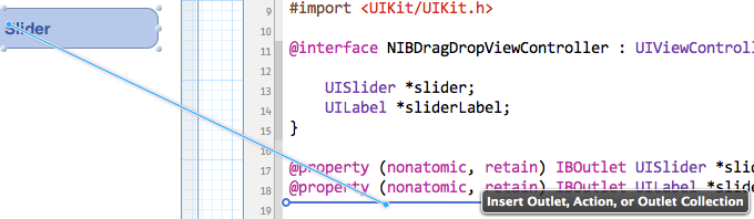 Dragging from Interface Builder directly into the code in Xcode 4