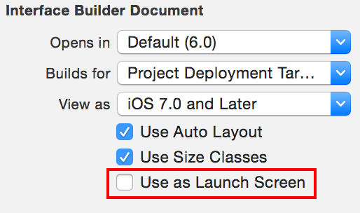 The Use as Launch Screen check box for NIB files in Interface Builder