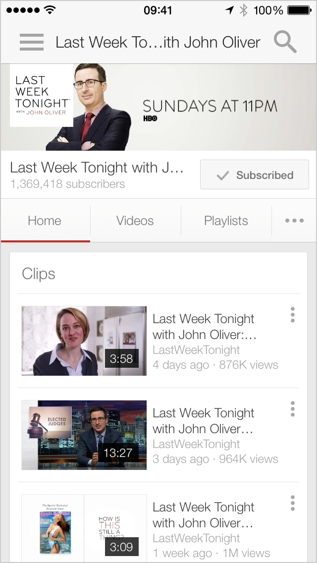 Google's YouTube iOS app displaying a list of truncated video titles